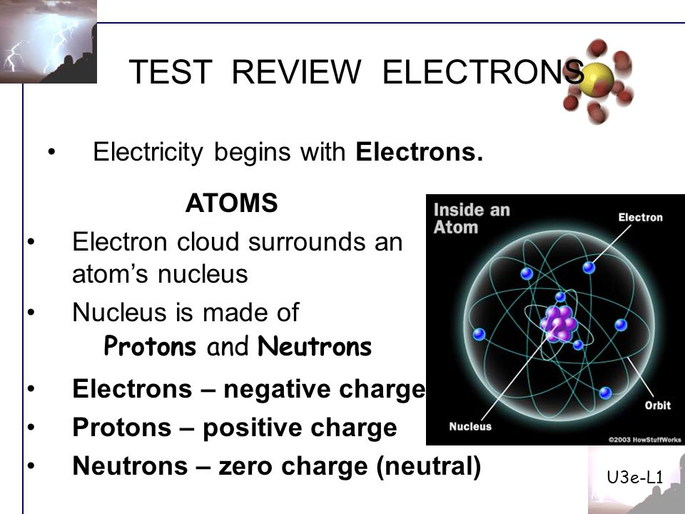 Test Review Electrons Electricity Begins With Atoms