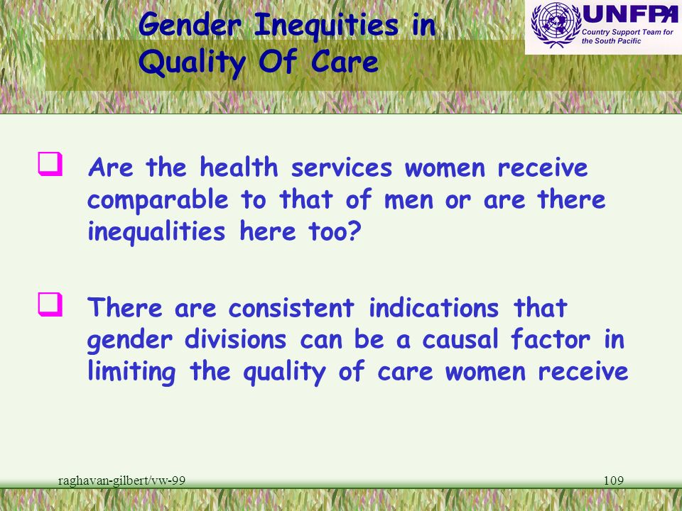 Gender Inequities in Quality Of Care