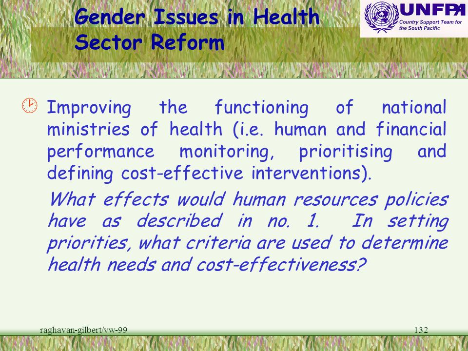 Gender Issues in Health Sector Reform