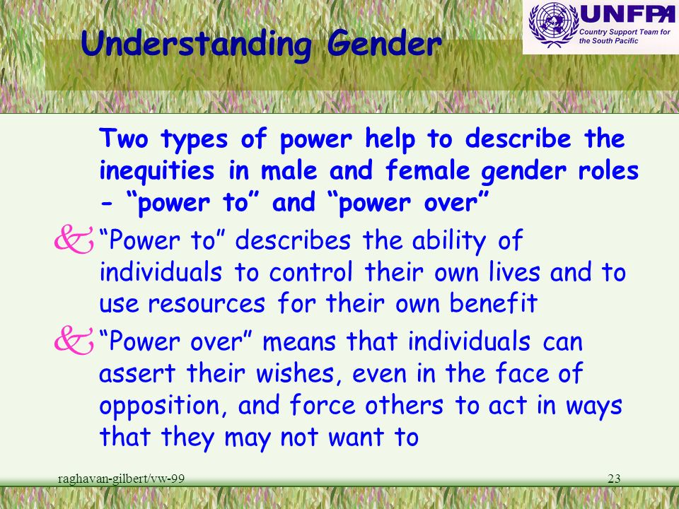 Understanding GenderTwo types of power help to describe the inequities in male and female gender roles - power to and power over