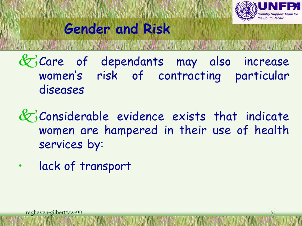Gender and RiskCare of dependants may also increase women's risk of contracting particular diseases.