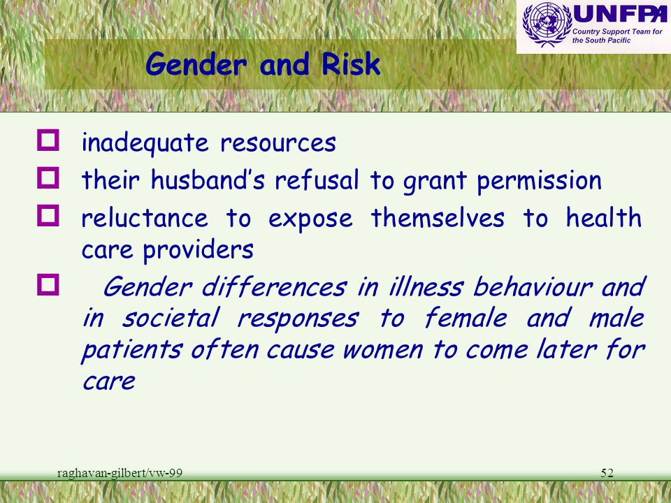 Gender and Risk inadequate resources