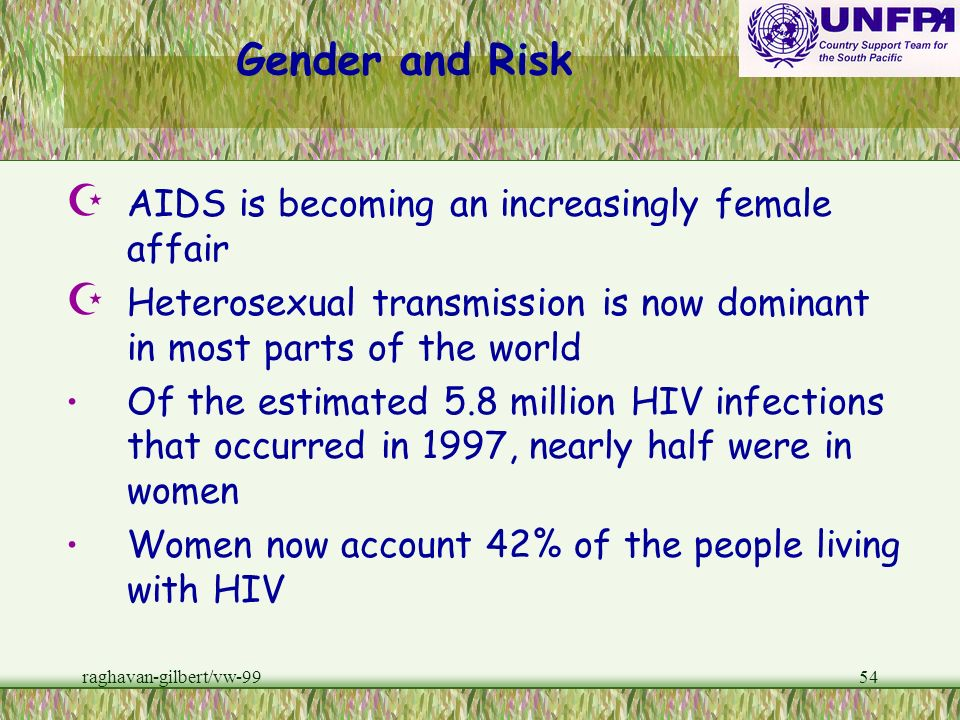 Gender and Risk AIDS is becoming an increasingly female affair