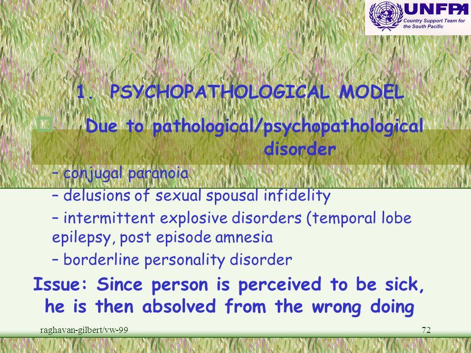 Due to pathological/psychopathological disorder
