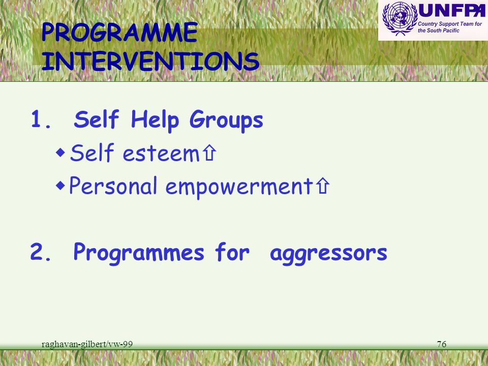 PROGRAMME INTERVENTIONS