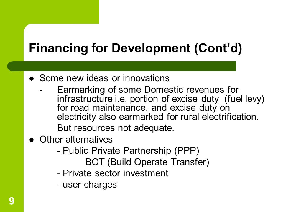 Financing for Development (Cont'd)