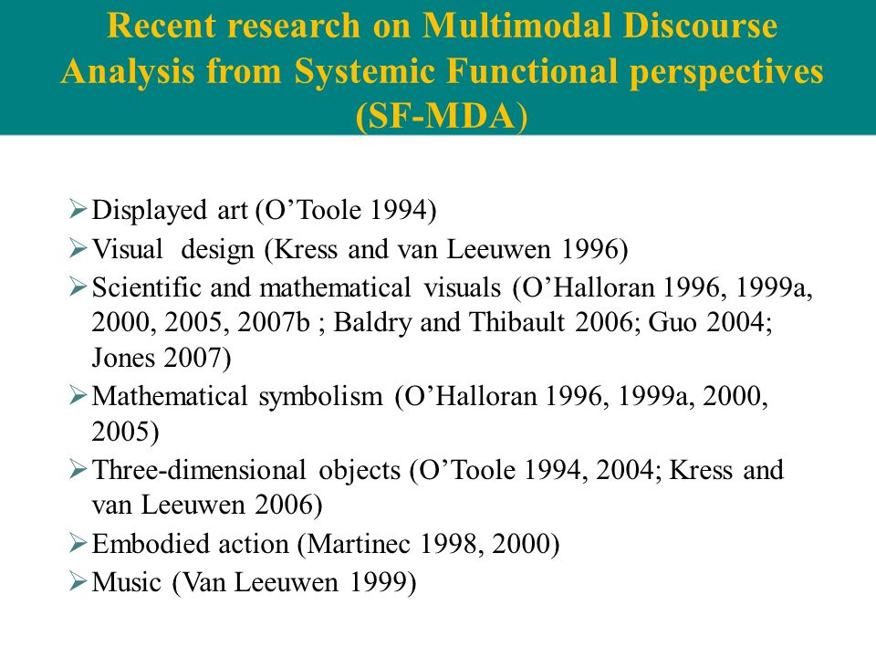 Recent research on Multimodal Discourse Analysis from Systemic Functional perspectives (SF-MDA)