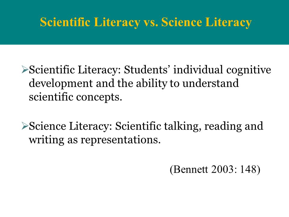 Scientific Literacy vs. Science Literacy