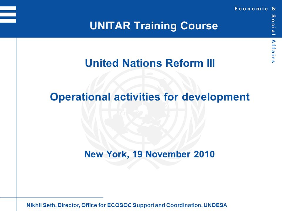 UNITAR Training Course