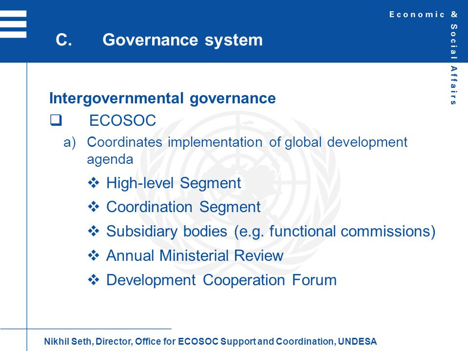 C. Governance system Intergovernmental governance ECOSOC