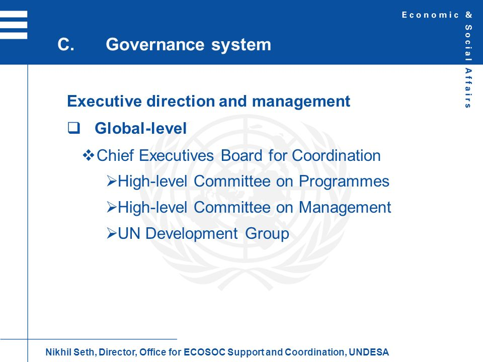 C. Governance system Executive direction and management Global-level