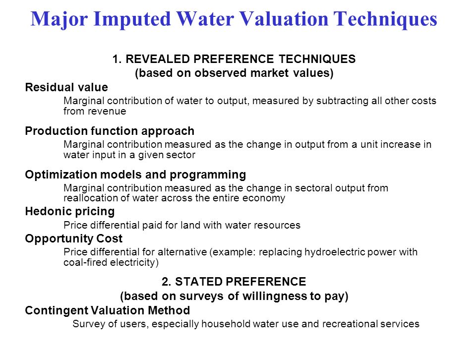 Major Imputed Water Valuation Techniques