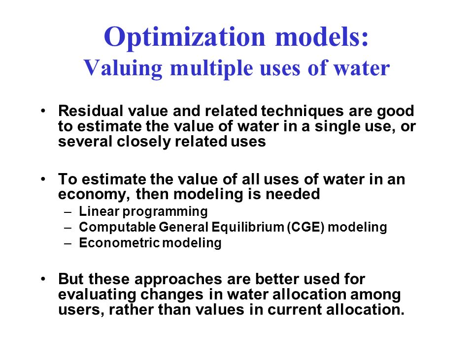 Optimization models: Valuing multiple uses of water