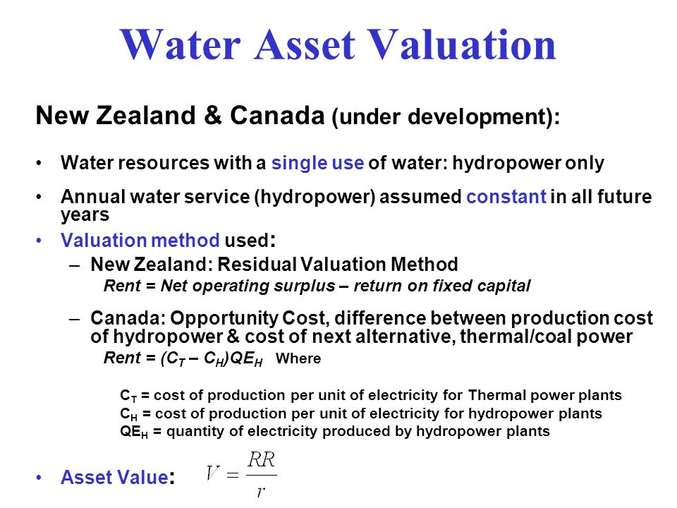 Water Asset Valuation New Zealand & Canada (under development):