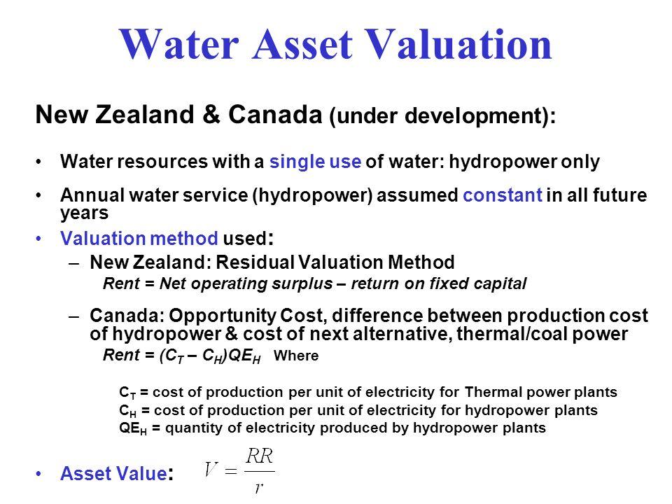 Water Asset Valuation New Zealand & Canada (under development):
