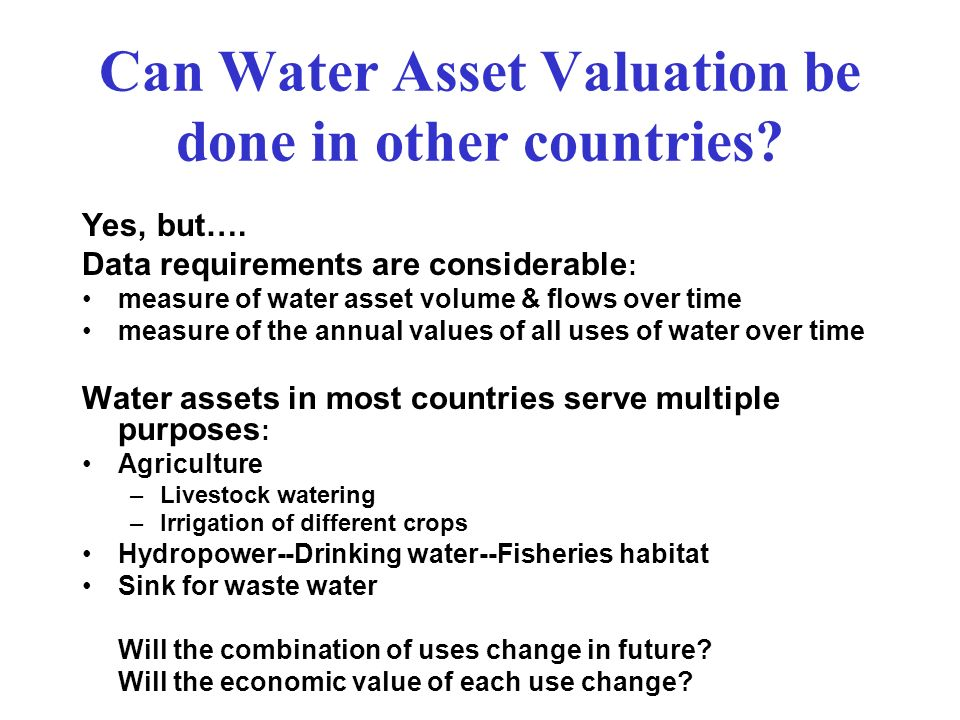 Can Water Asset Valuation be done in other countries
