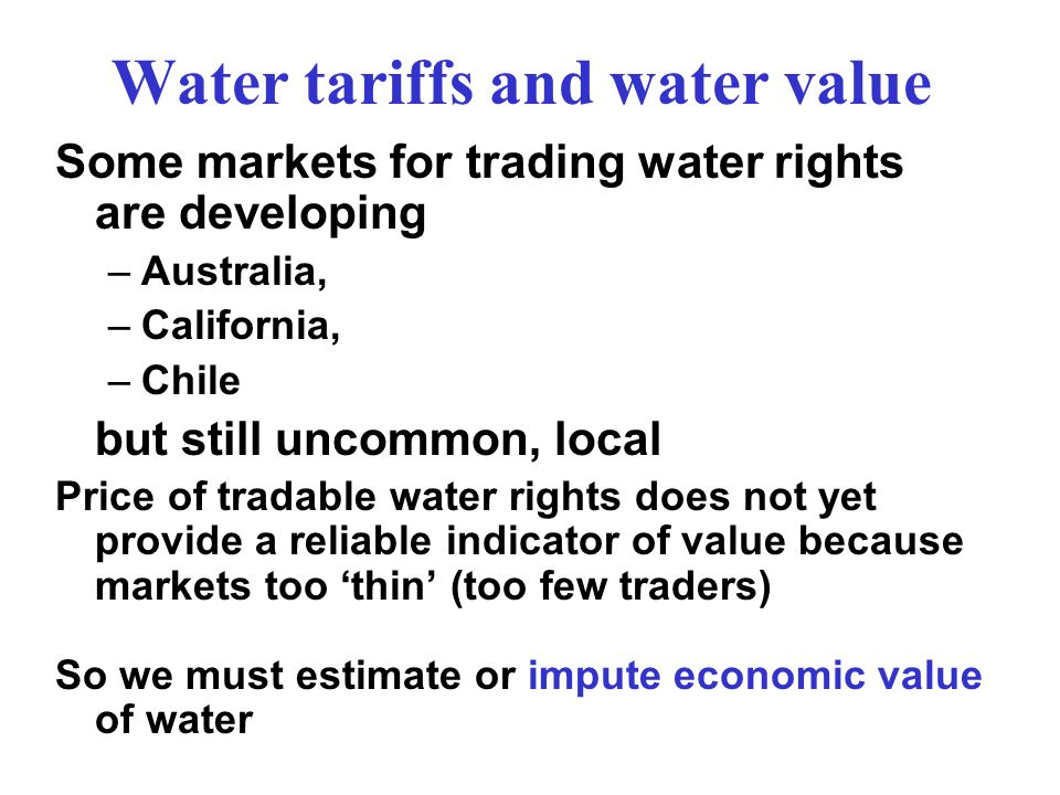 Water tariffs and water value