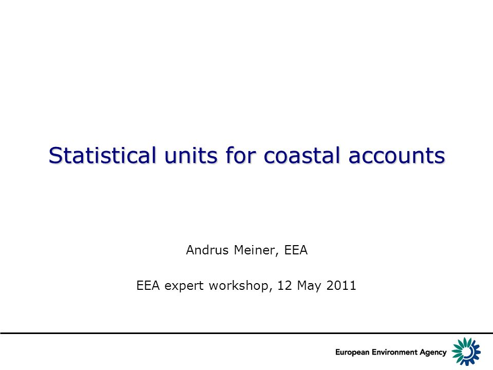 Statistical units for coastal accounts