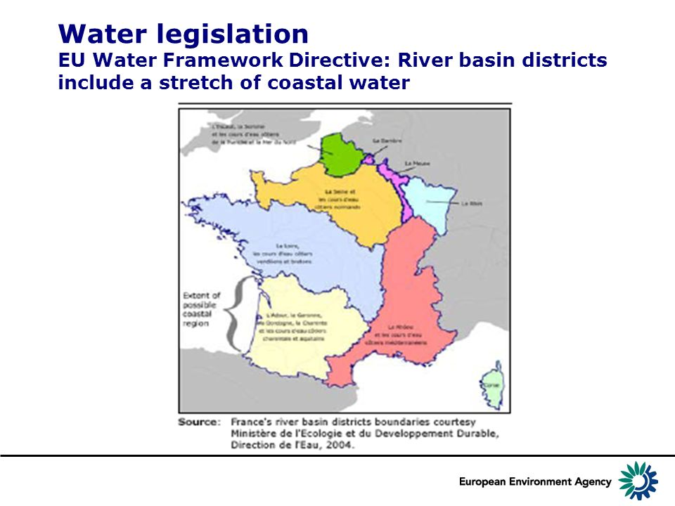 Water legislation EU Water Framework Directive: River basin districts include a stretch of coastal water