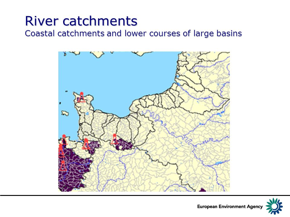 River catchments Coastal catchments and lower courses of large basins