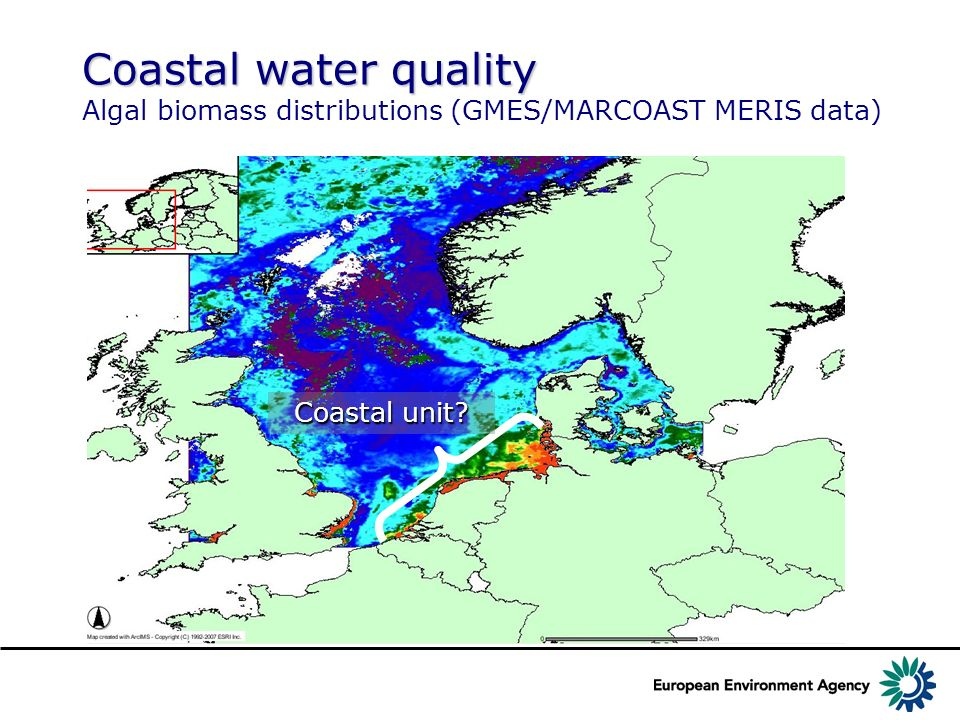 Coastal water quality Algal biomass distributions (GMES/MARCOAST MERIS data)