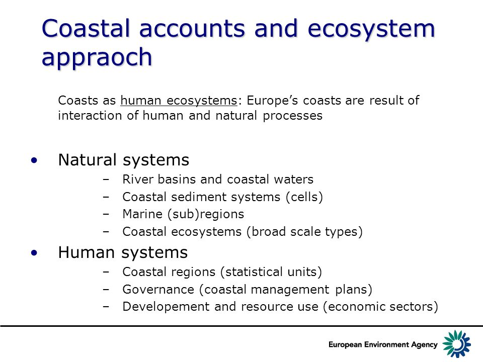 Coastal accounts and ecosystem appraoch