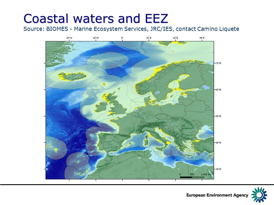 Coastal waters and EEZ Source: BIOMES - Marine Ecosystem Services, JRC/IES, contact Camino Liquete