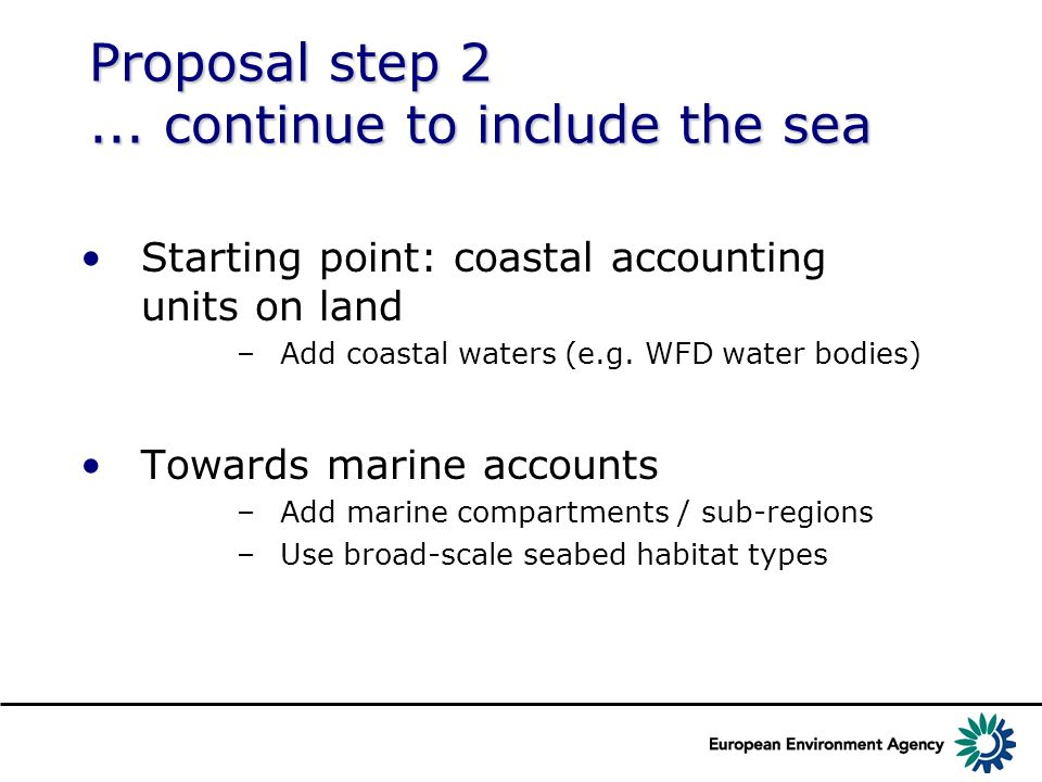 Proposal step continue to include the sea