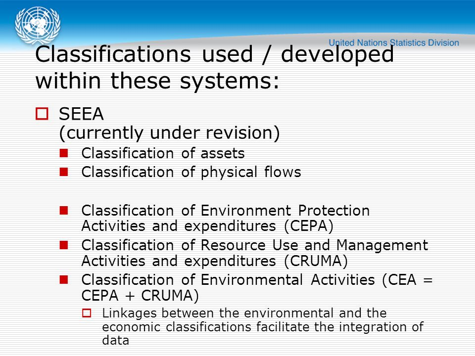 Classifications used / developed within these systems: