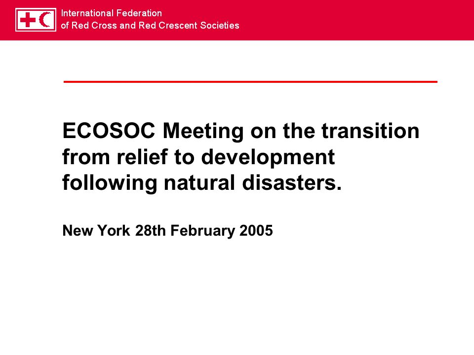 ECOSOC Meeting on the transition from relief to development following natural disasters.