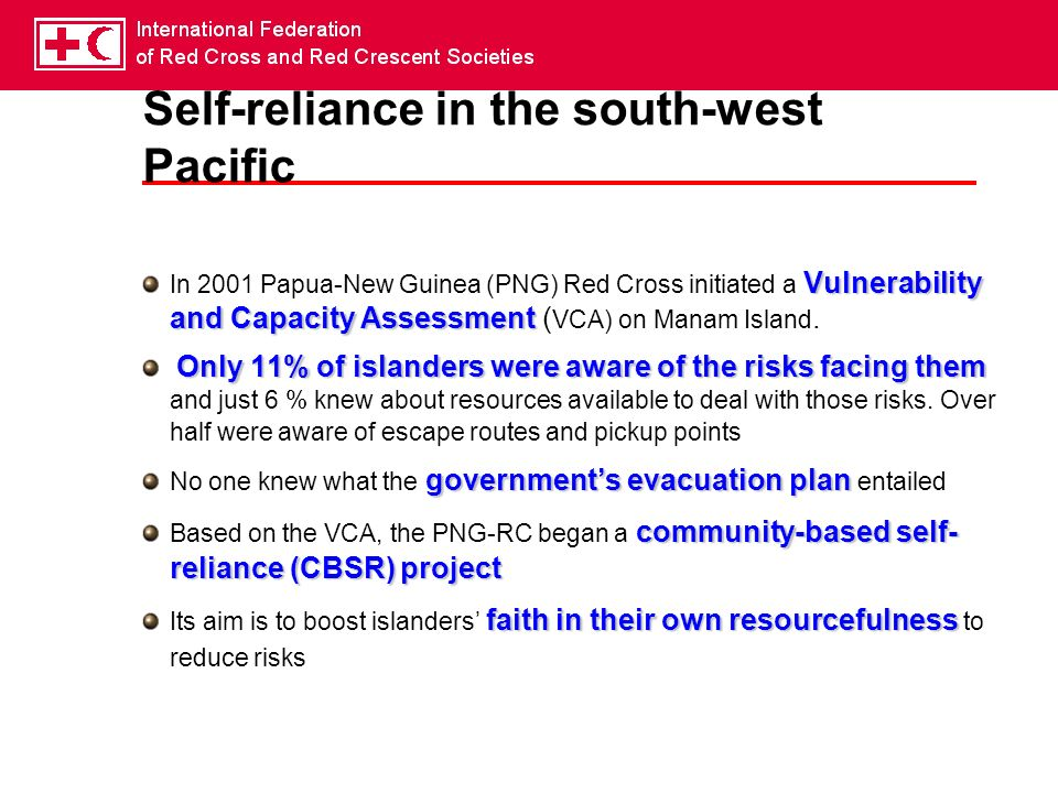 Self-reliance in the south-west Pacific