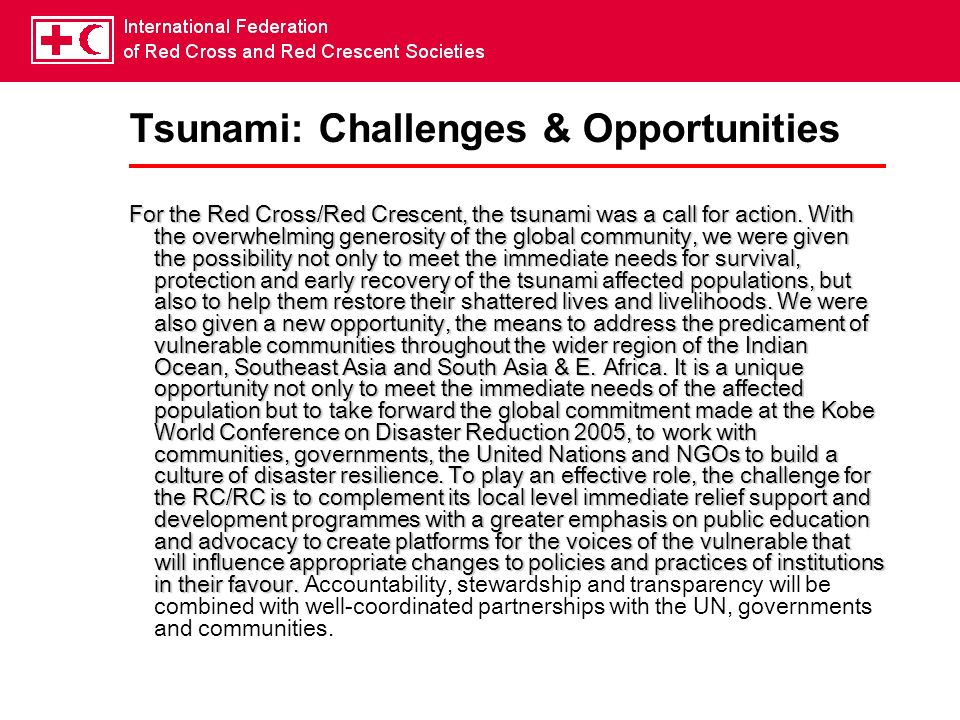 Tsunami: Challenges & Opportunities