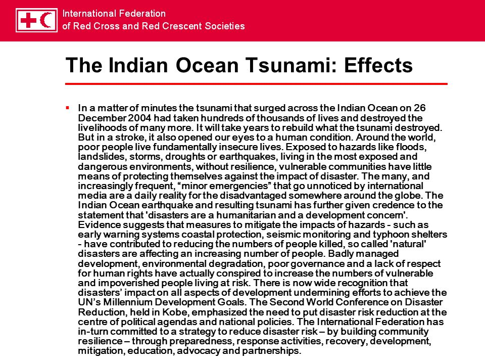 The Indian Ocean Tsunami: Effects