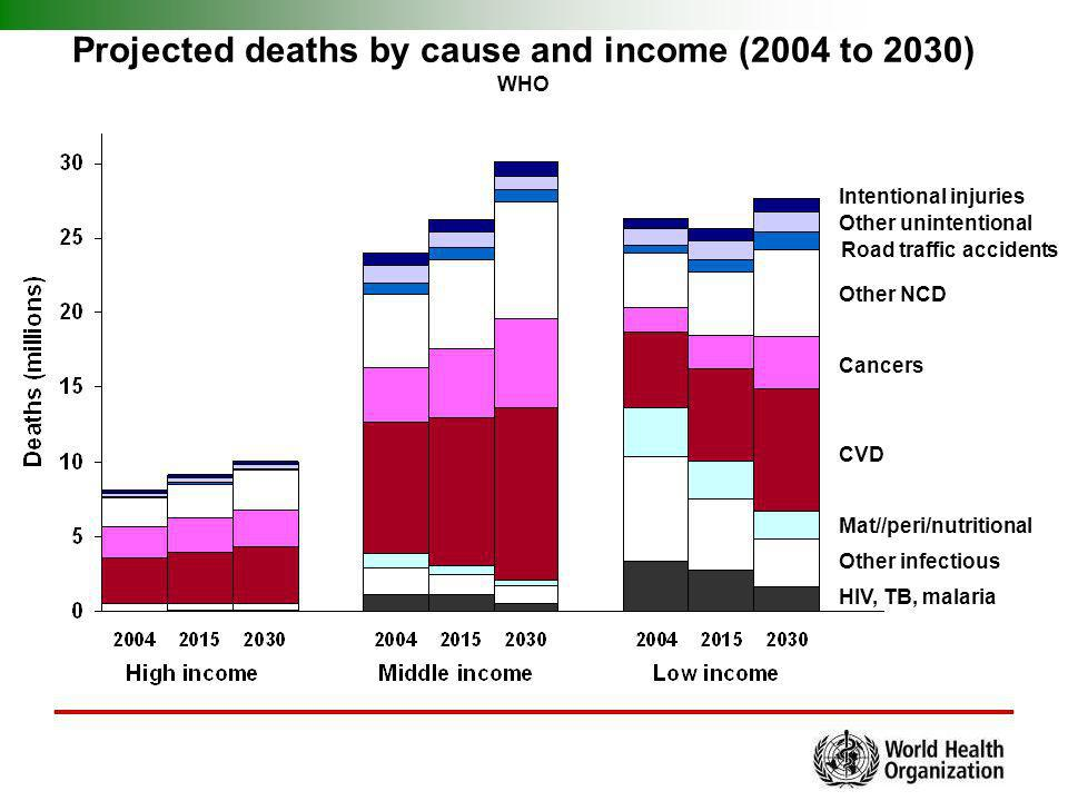 Projected deaths by cause and income (2004 to 2030)