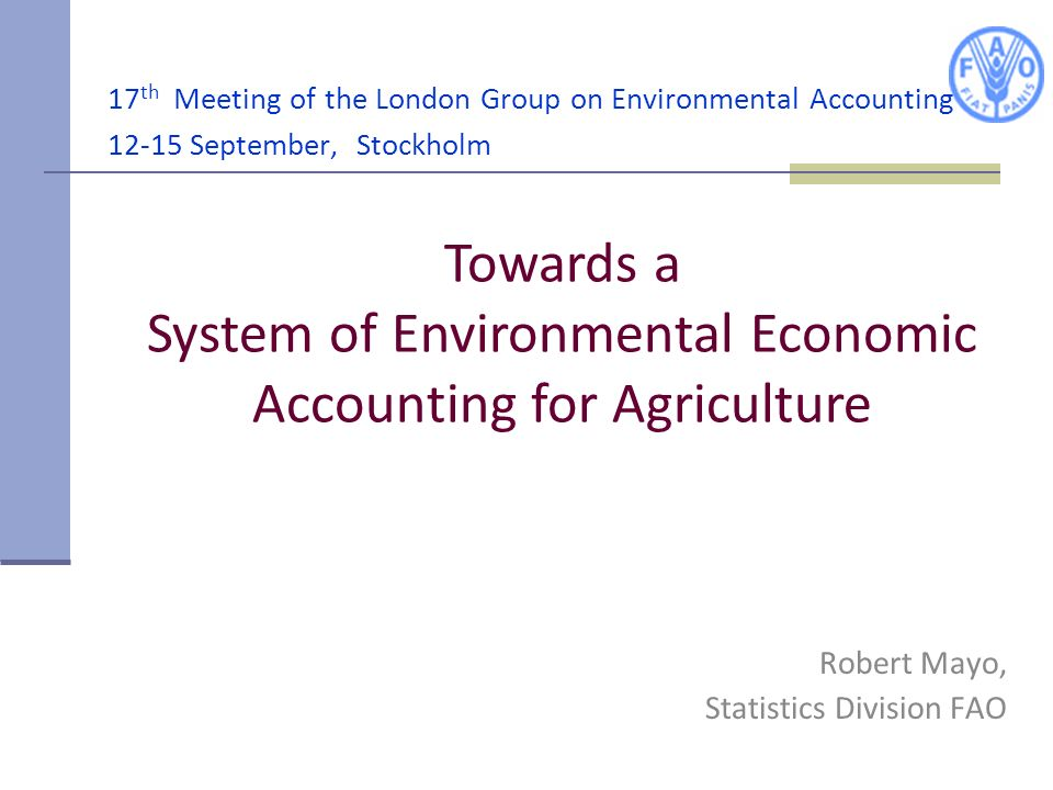 Robert Mayo, Statistics Division FAO