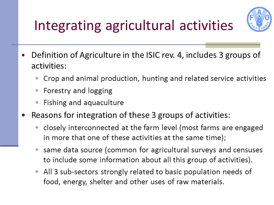 Integrating agricultural activities
