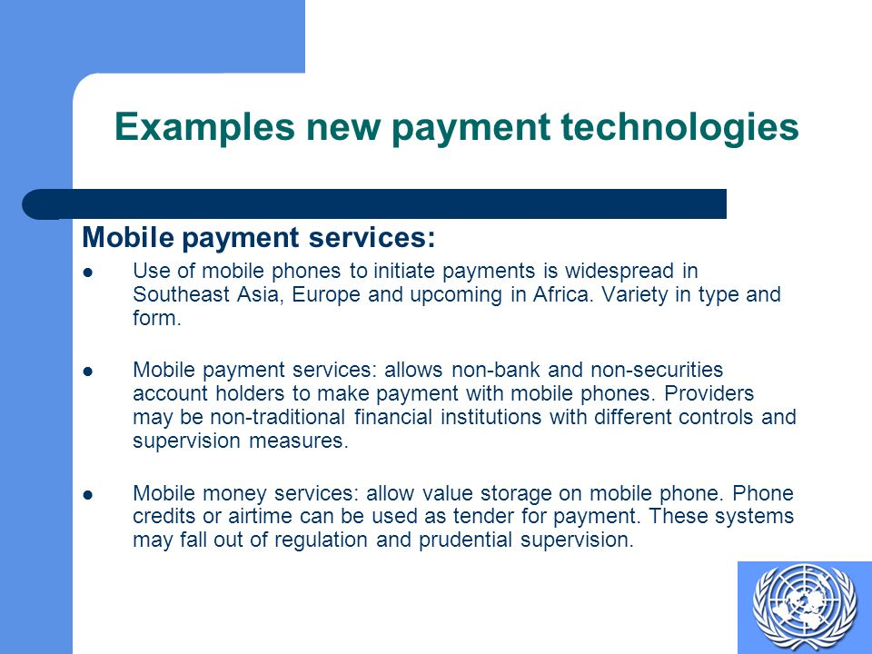 Examples new payment technologies