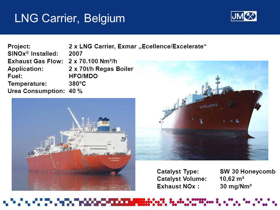 "LNG Carrier, Belgium Project: 2 x LNG Carrier, Exmar ""Ecellence/Excelerate SINOx® Installed:"