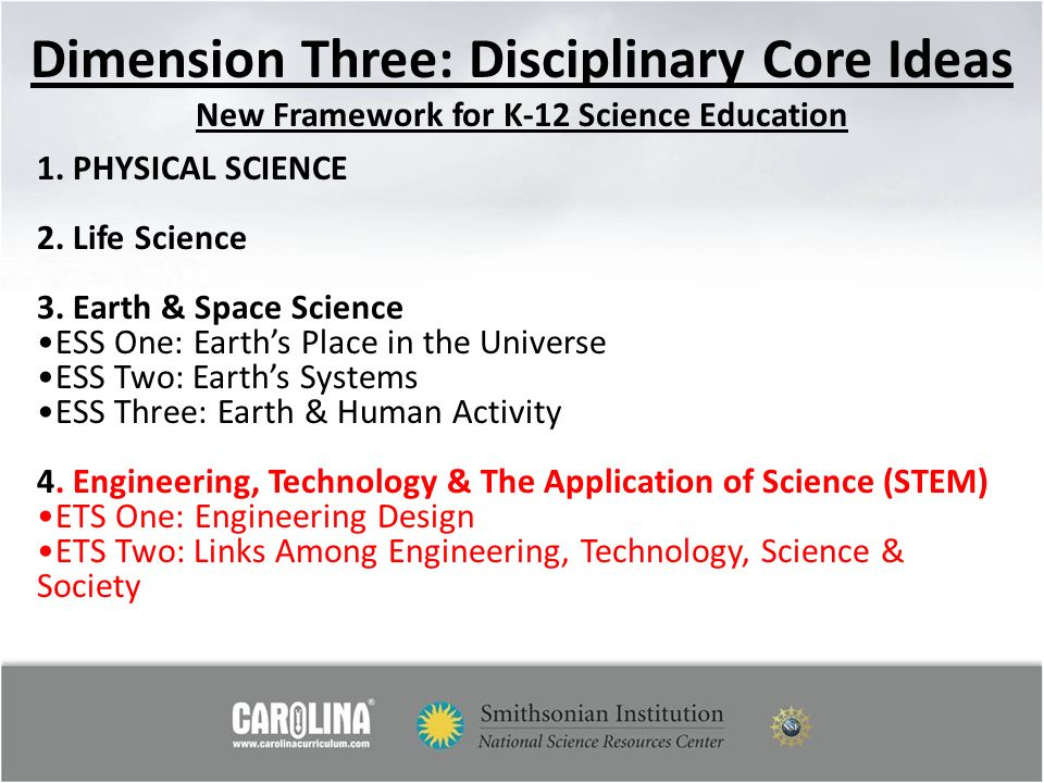 Dimension Three: Disciplinary Core Ideas New Framework for K-12 Science Education
