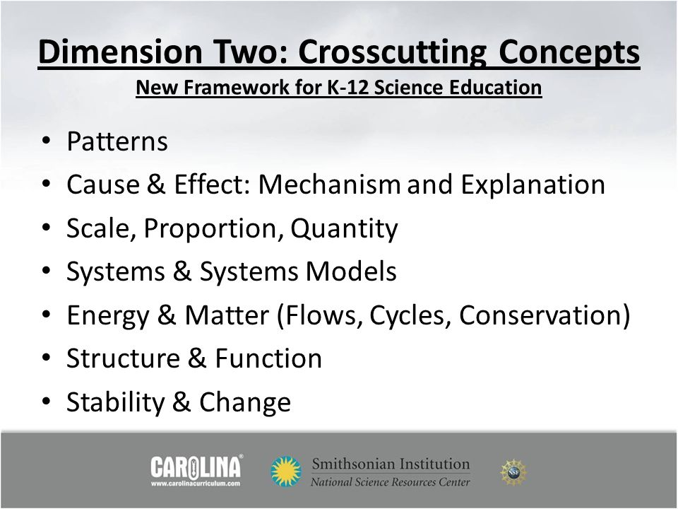 Dimension Two: Crosscutting Concepts New Framework for K-12 Science Education