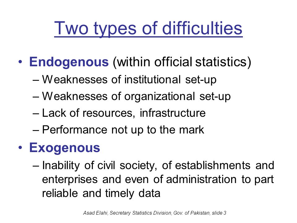Two types of difficulties