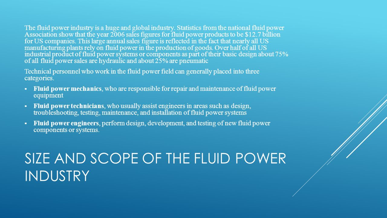Size and scope of the fluid power industry