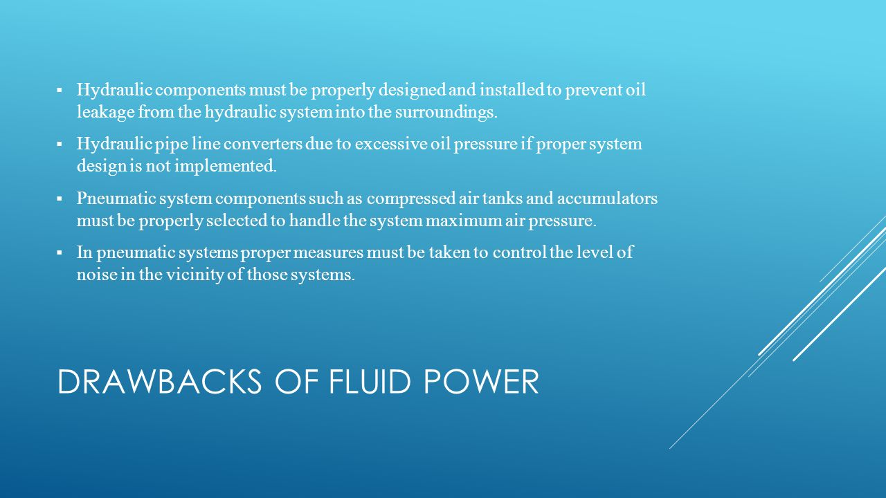 Drawbacks of Fluid Power
