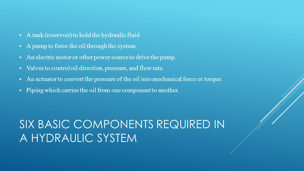 Six basic components required in a hydraulic system