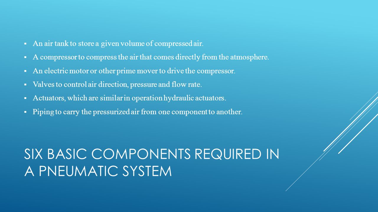 Six basic components required in a pneumatic system