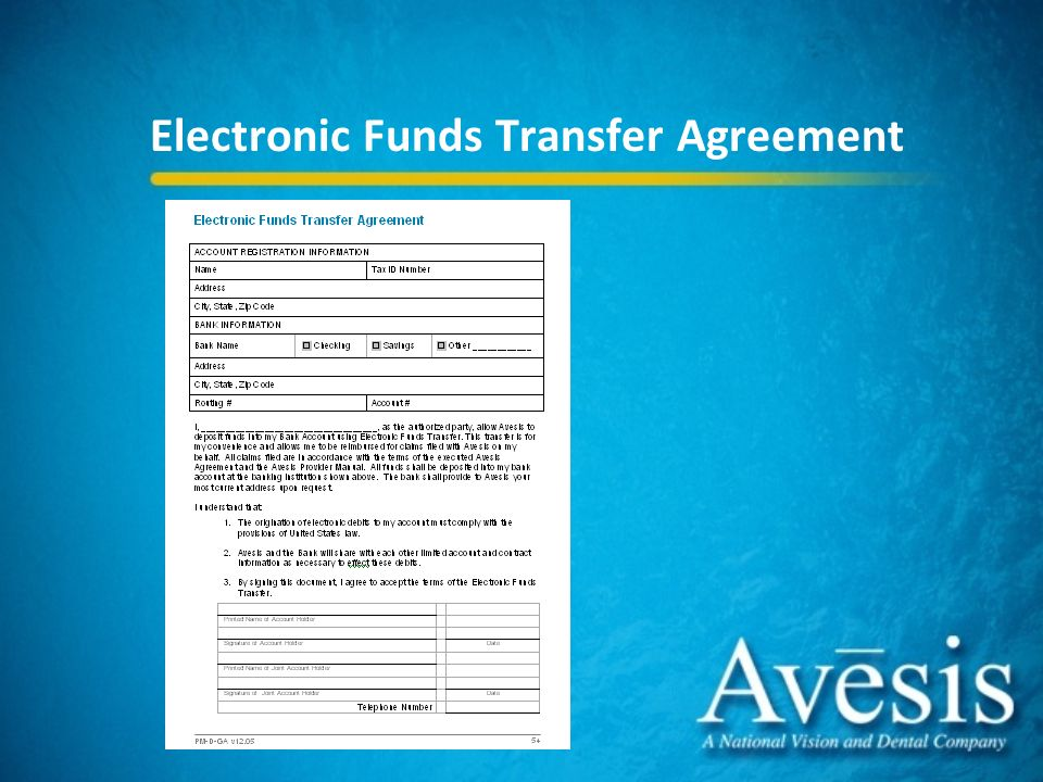 Avesis health partners dental providers staff ppt download 35 electronic funds transfer agreement platinumwayz
