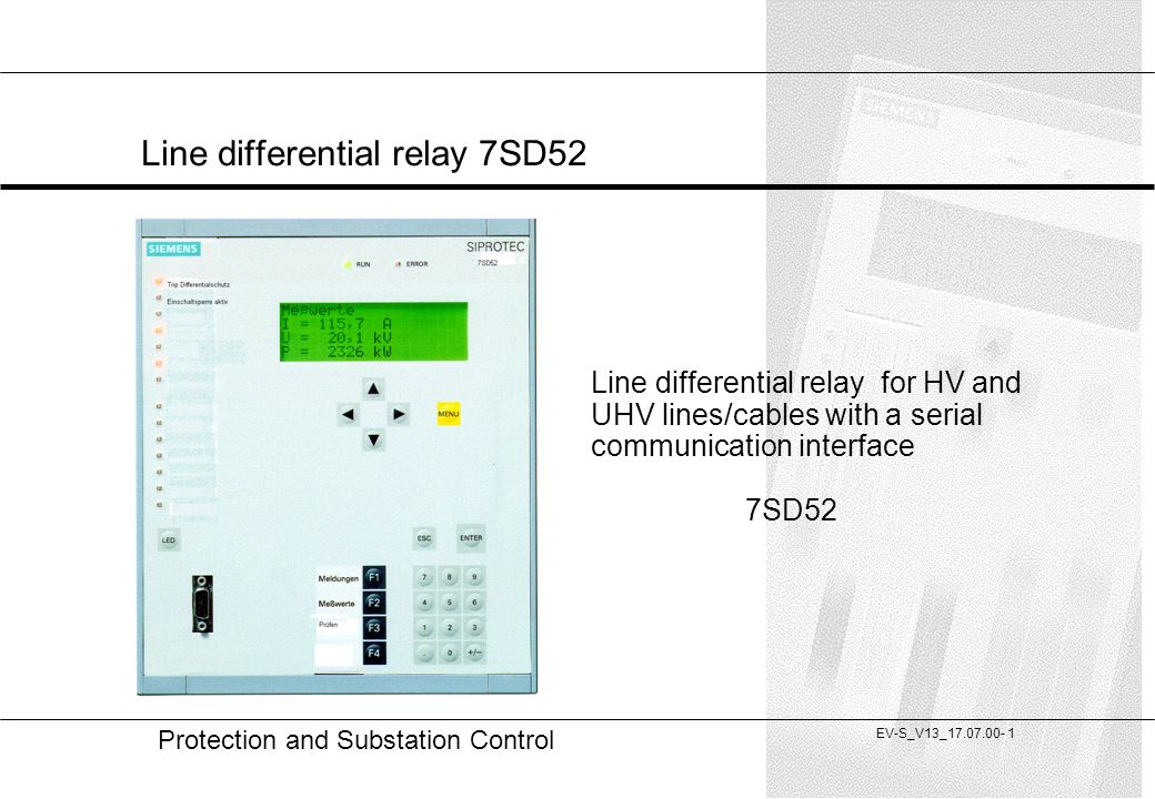 Line differential relay 7SD52 - ppt video online download