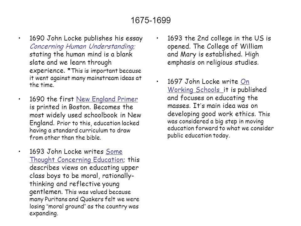 history of american public education ppt  10 1690 john locke publishes his essay
