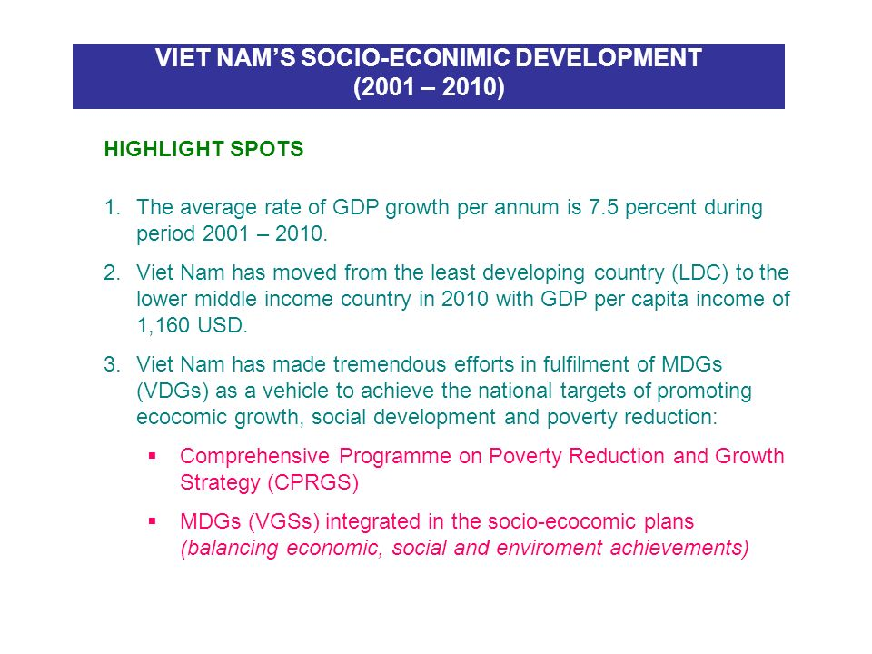 VIET NAM'S SOCIO-ECONIMIC DEVELOPMENT (2001 – 2010)