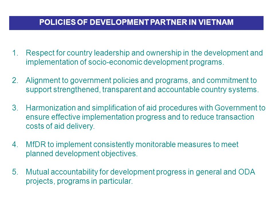 POLICIES OF DEVELOPMENT PARTNER IN VIETNAM